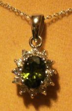"Buy Emerald & White Sapphire Cluster Pendant with 18"" Rolo Chain"