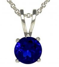Buy 1 ct weight Blue Sapphire Pendant & Sterling Silver Necklace