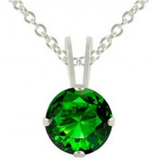 Buy 1 ct Emerald & Sterling Silver Pendant Classic Design