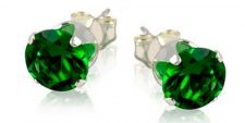 Buy 1 ct Emerald & Sterling Silver Earring Classic Design