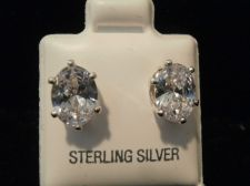 Buy Diamond & Sterling Silver Earring Oval design