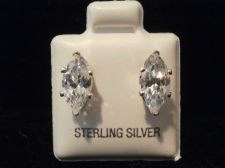 Buy Diamond & Sterling Silver Earring Marquise design