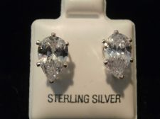 Buy Diamond & Sterling Silver Earring Pear design