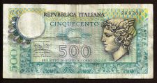Buy Italy 500 Lire 1974 Mercury Banknote # 289203