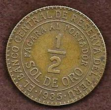 Buy 1935 Peru 1/2 Sol de Oro World Coin KM220.1 Vicuna Llama Cinchona tree Animal