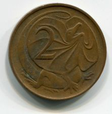 Buy 1966 Australia 2 Cent Elizabeth II Frilled-Neck Lizard