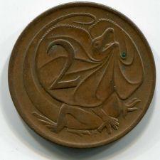 Buy 1974 Australia 2 Cent Elizabeth II Frilled-Neck Lizard