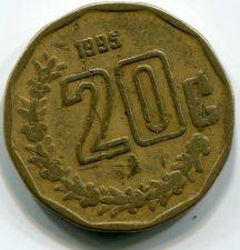 Buy 1995 Mexican 20 Centavos Circulated Coin Aluminum Bronze