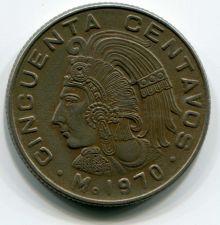 Buy 1970 Mexican 50 Centavos Circulated Coin Cupronickel