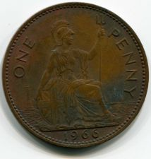 Buy 1966 British Penny Young Quenn Elizabeth II Circulated Coin Copper