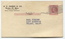 Buy 1960 2 Cent Franklin Postcard Used From H.E. Harris Partial Cancellation