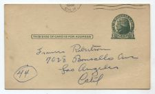 Buy 1949 1 Cent Jefferson Postcard Used Los Angeles, CA Partial Cancellation