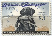 Buy 1959 $3.00 Black Lab and Mallard Duck Stamp Signed Creased High Catalog Value