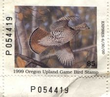 Buy 1999 $5.00 Oregon Upland Game Bird Stamp Unsigned Clean High Catalog Value $30