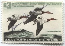 Buy 1965 $3.00 Canvasbacks Duck Stamp Signed Clean Used High Catalog Value