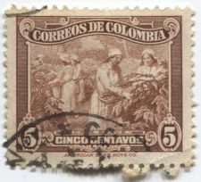 Buy 1944-45 Correos De Colombia 5c Cinco Centavos American Bank Note Co. Version