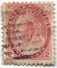 Buy 1898-1902 Canada 2 cents Carmine Rose Queen Victoria Used Hand Cancel Stamp