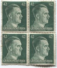 Buy 1941-44 42 Pfenning German Green Hitler Grossdeutsches Reich Block x4 Attached