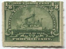 Buy 1898 1/8th Cent Proprietary Battleship Vertical Line Right Edge Rough Perf