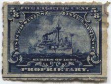 Buy 1898 5/8th Cent Proprietary Battleship Horizontal Line Lower Edge Rough Perf