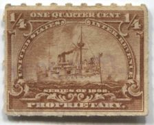 Buy 1898 1/4th Cent Proprietary Battleship Top and Left Edge Clean Perforations