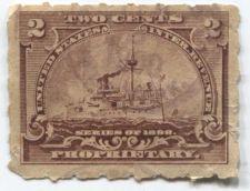 Buy 1898 2 Cent Proprietary Battleship Internal Revenue Used Light 1900 Oval Cancel