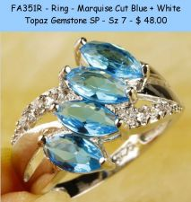 Buy FA351R - Ring - Marquis Cut Blue & White Topaz Gemstone SP - Sz 7