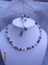 Buy 12267N - Necklace Earrngs Set - Amethyst Gemstone Swarovski Crystals FW Pearls