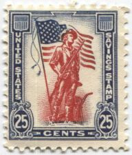 Buy 1961 25 cents Red Blue US Official War Savings Stamp Mint Condition Collectible