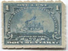 Buy 1898 1 Cent Documentary Battleship Internal Revenue Pale Blue Used Light Cancel