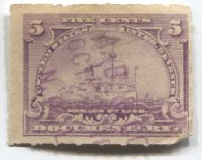 Buy 1898 5 Cent Documentary Battleship Internal Revenue Used Hand Cancel