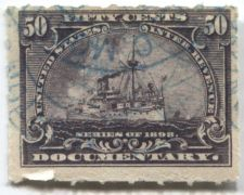 Buy 1898 50 Cent Documentary Battleship Internal Revenue Purple Used Hand Cancel