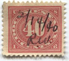 Buy 1917 40 Cent Documentary Internal Revenue Red Used Hand Cancel