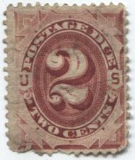 Buy 1891 2c Cent Postage Due Red Used Light Cancel Hinged Small Crease