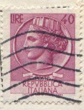 Buy 1971 Repubblica Italiana Poste Italian 40 Lire Pink Cancelled on piece corner