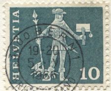 Buy 1966 Helvetia Swiss Soldier with Dog 10 on piece corner 19-20-1966 Briefversand