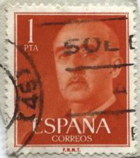 Buy 1955 1 PTA General Franco Espana Correos F.N.M.T. Attached corner cancelled