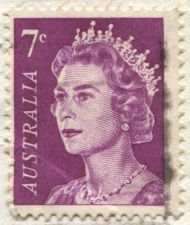 Buy 1971 7c Australian Queen Elizabeth II Pink On Piece Light Cancel Bright