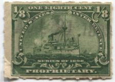 Buy 1898 1/8th Cent Proprietary Battleship Light Cancel 1898 Hyphen Hole Perforation