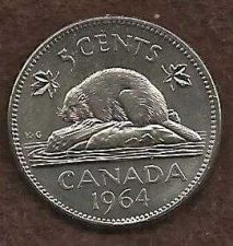 Buy Canada 5 Cents 1964 Bugtail Beaver Nickel