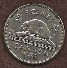 Buy Canada 5 Cents 1963 Bugtail Beaver Nickel