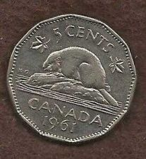 Buy Canada 5 Cents 1961 Bugtail Beaver Nickel