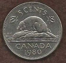 Buy Canada 5 Cents 1980 Bugtail Beaver Nickel