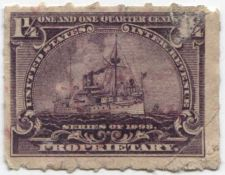 Buy 1898 1 1/4th Cent Proprietary Battleship Small Crease Lower Right Corner