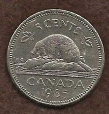 Buy Canada 5 Cents 1985 Bugtail Beaver Nickel