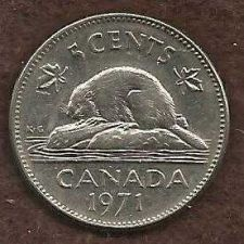 Buy Canada 5 Cents 1971 Bugtail Beaver Nickel