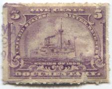 Buy 1898 5 Cent Documentary Battleship Internal Revenue Used Partial Cancel