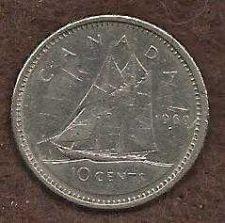 Buy Canada 10 Cents 1969 Sailboat