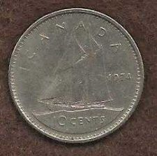 Buy Canada 10 Cents 1974 Sailboat
