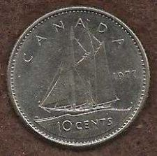 Buy Canada 10 Cents 1977 Sailboat